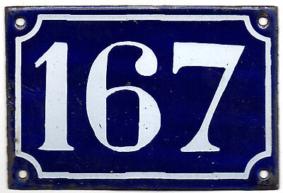 Old blue French house number 167 door gate plate plaque enamel steel sign c1900