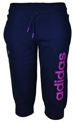 Adidas Young ESS Lin 3/4 Pant ClimaLite Girls Mädchen Short Capri Sporthose Navy