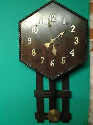 Arts and Crafts Mission style large oak wall clock