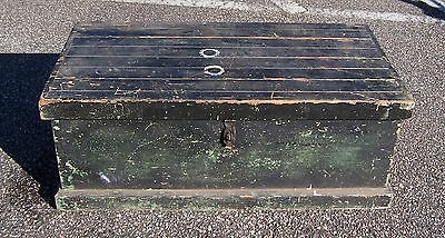 Vintage Mid Century Wooden Wood Trunk Chest