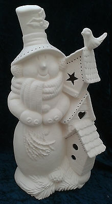 "Paint Your Own Ceramic Bisque - Extra Large Snowman & Birdhouses 17"" tall"