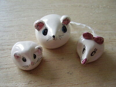 Philip Laureston Hand Painted Pottery Animals - 3 White Mice - All Unmarked (1)