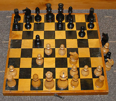 AMAZING VINTAGE WOODEN SOVIET TOURNAMENT CHESS SET 1960s CHESSMEN WITHOUT BOARD
