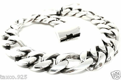 Taxco Mexican Sterling 925 Silver Men's Unisex Figaro Chain Link Bracelet Mexico