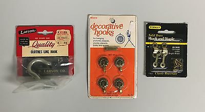 Lot of Miscellaneous Hooks (Decorative, Clothes Line, Brass), New and Unused