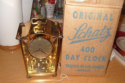 Aug.schatz & Sohne Large German Anniversary Clock 400 Day + Key + Original Box