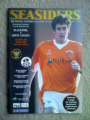 Blackpool v Notts County - Nationwide League Division 2 1999/00 Programme