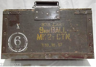 Plywood wooden & metal ammunition ammo box for 9mm ball