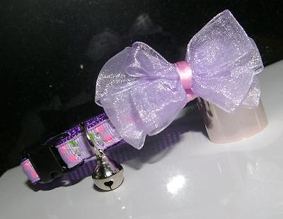 Pretty Purple & Pink Cherries Breakaway Buckle Cat Collar