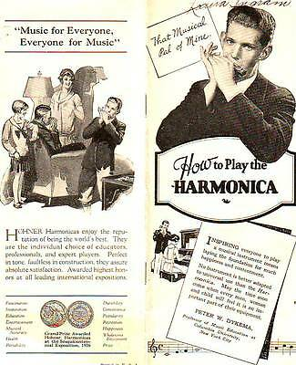 1920s HARMONICA HOHNER MUSICAL INSTRUMENTS BOOKLET ILLUSTRATIONS GUIDE HOW TO