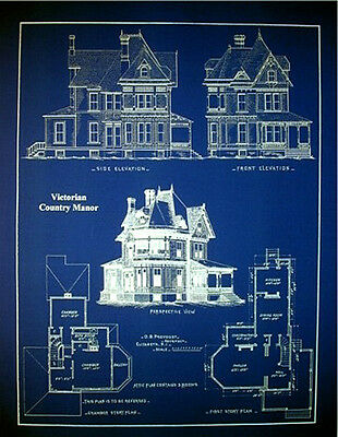 """Victorian House 1890 old fashioned blue Blueprint Plans 19""""x24""""  (070)"""