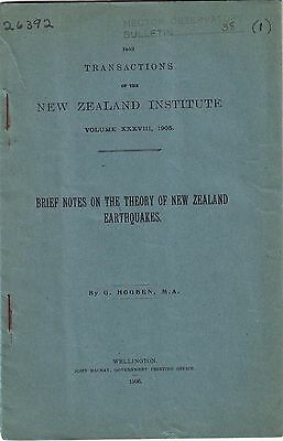 1906 New Zealand Earthquakes Booklet Map George Hogben History Information