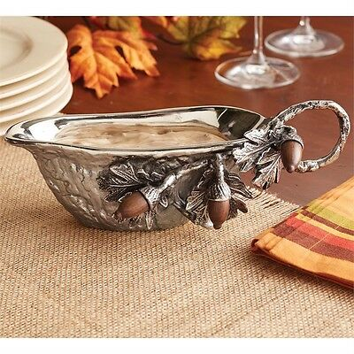 Mud Pie Oak Leaves Acorn Metal Gravy Boat Fall Holiday Mango Wood Accents