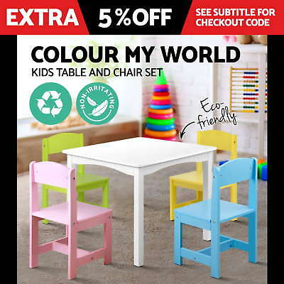 Kids Study Desk Children Table 4 Chair Set Playing Nursing Kindergarten Dining