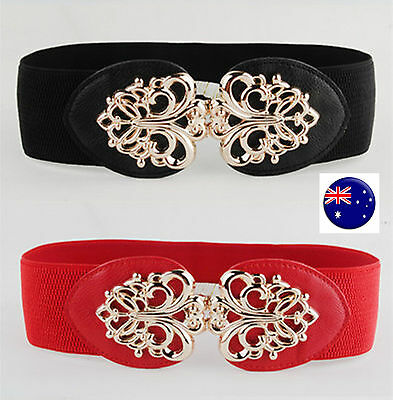 Women lady Metallic Retro Flower Elastic Stretchy Dress Narrow Waist Belt Band