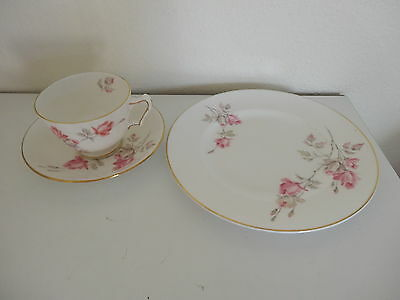 """3 Pieces Crown Staffordshire cup saucer 8"""" plate white pink roses pattern gold"""