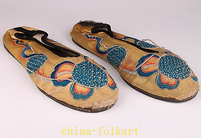 Vintage China Hand Embroidery Embroidered Shoes Qing Dynasty OldCollectable