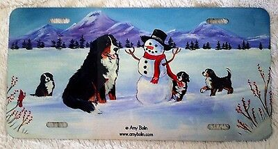Bernese Mountain Dog  aluminum LICENSE PLATE by Amy Bolin My OUR SNOWY FRIEND