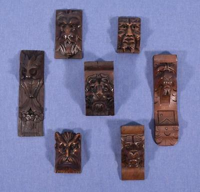 *Lot of Antique French Carved Oak and Walnut Carved Heads/Trim (7 AVAILABLE)