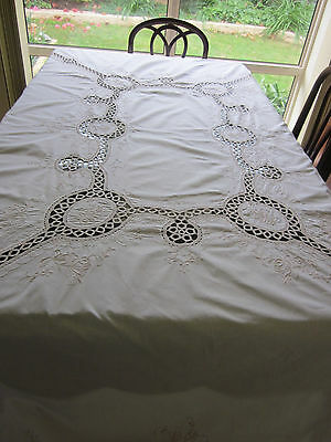 Vintage Hand-made large OBLONG TABLECLOTH extensive embroidery, scalloped edges
