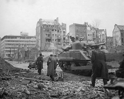 1945 Koln Cologne Germany 3rd Armored Division Sherman Tank WWII Photo FL109