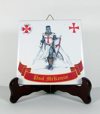 Knights Templar Ceramic Tile CUSTOMIZABLE WITH YOUR NAME or PHRASE mod.1
