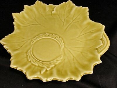 Russel Wright WOODFIELD STEUBENVILLE Golden Fawn Tea Snack PLATE leaf chartreuse