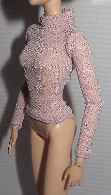 Top ~ Barbie Doll Model Muse Party Perfect Pink Sparkly Mock Turtleneck Shirt