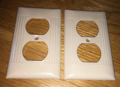 2-Vtg. 2 Plug In Wall Cover Plates IVORY RIBBED Bakelite SIERRA Electric