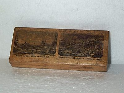 Worlds COLUMBIAN EXPOSITION Expo Fair Chicago SLICK WOODEN HINGED BOX 1893 HTF