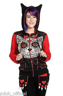 SUGAR Skull Kitty Cat Hoodie Banned Living Dead Souls Goth Punk Rock Hooded Top