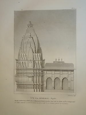 William DANIELL ENGRAVING PAGODA DEEG RAJASTHAN BHARATPUR INDIA HINDOUSTAN 1820