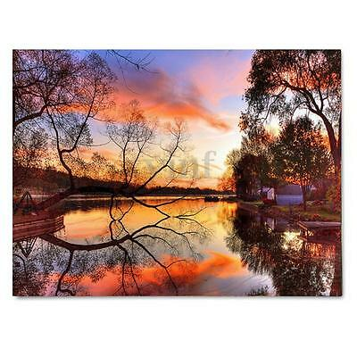 LED Light Up Sunset Framed Painting Canvas Picture Print Home Room Wall Decor