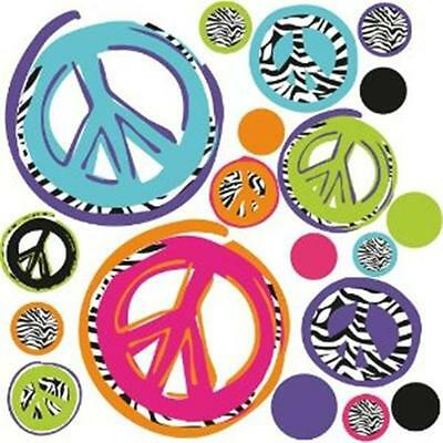 RoomMates RMK1860SCS Zebra Peace Signs Peel & Stick Wall Decals
