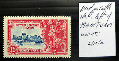 BRITISH SOLOMON ISLANDS 1935 Silver Jubilee 1½d with Variety SEE BELOW XY589