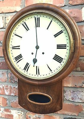 "Antique W&H Drop Dial Walnut Wall Clock 12.5"" dial / School Clock"