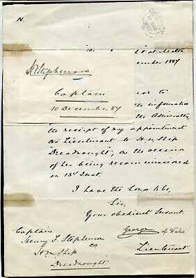 Rare Admiralty Document Signed King George V Dreadnought Stephenson 1887
