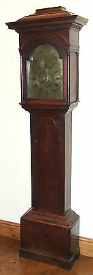 Early Pagoda Top Antique Brass Dial Oak Longcase Grandfather Clock : WOODLEY