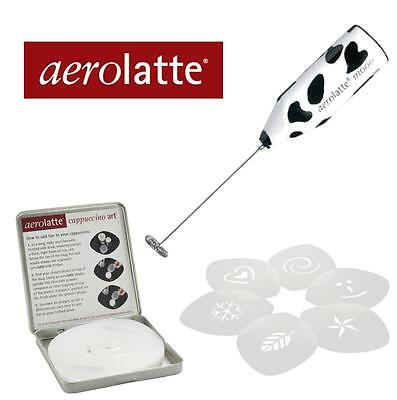 Coffee Gift Pack - Aerolatte Mooo Battery Milk Frother - 6 x Coffee Stencil Kit