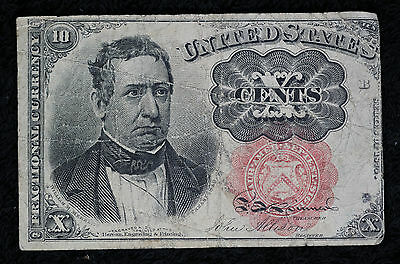 10 Cent 5th Issue Fractional Currency Red Seal Note  - Long Key - FR #1265