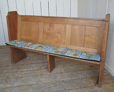 Antique Solid Oak Victorian Church Pew - Bench Settle Seating With Book Holder