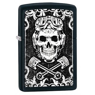 Zippo Skull Wrenches Black Matte Regular Lighter Brand New