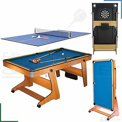 BCE 6FT Pool Tennis Table Top Dartboard & Balls - 3 in 1 Games Vertical Folding