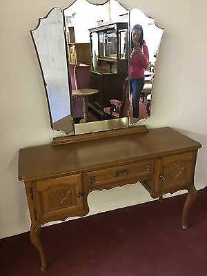 Outstanding French Carved Oak Tripple Mirror Dressing Table