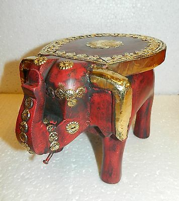 Elephant wooden sitting brass fitted stool colorful painted embossed uptrunk