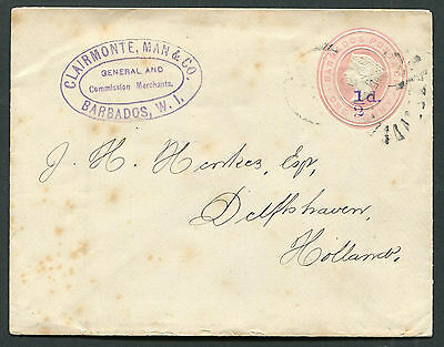 Barbados QV 1892 ½d / 1d postal stationery envelope H&G B.2a used to Holland