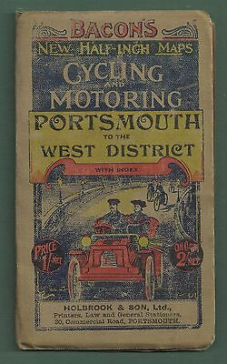 1908 Bacon's Half-Inch Map For Cycling & Motoring Portsmouth To West District