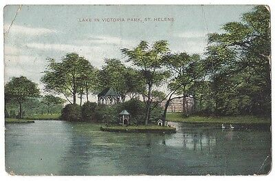 ST HELENS Lake in Victoria Park, Old Postcard Postally Used 1913