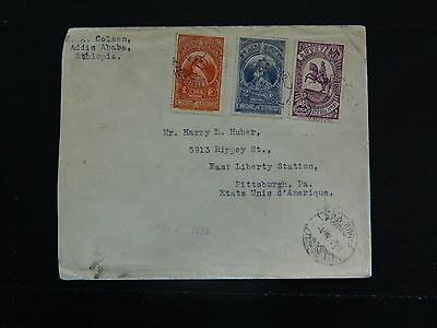 Ethiopia Stamp SG 306/08 on cover to U.S.A posted 4-IV-33 arrival MAY 2-1933.