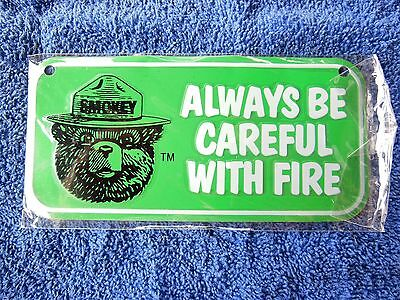 """Vintage US Forest Service """"Smokey Bear"""" Metal Bicycle License Plate! NICE"""